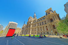 Philadelphia City Hall with many tourists on the Penn Square Stock Photos