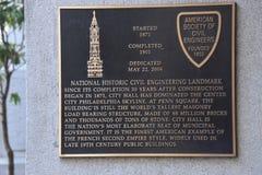 Philadelphia city hall plaque stock photos