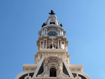 Philadelphia City Hall Tower. Philadelphia City hall clock tower on bright sunny day Royalty Free Stock Images