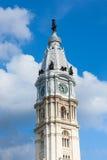 Philadelphia city hall tower over a cloudy sky -  Pennsylvania - Stock Photos