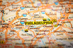 Philadelphia, City on a Road Map Stock Photography