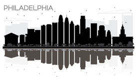 Philadelphia City skyline black and white silhouette with reflec Royalty Free Stock Images