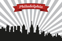 Philadelphia city skyline with rays background and ribbon stock illustration