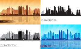 Philadelphia City Skyline Silhouettes Set Royalty Free Stock Photography
