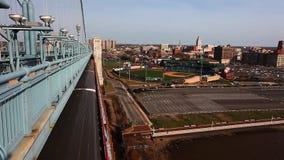 Philadelphia cityscape from the Benjamin Franklin Bridge stock footage