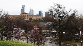 Philadelphia cityscape with blossoms in the foreground stock video