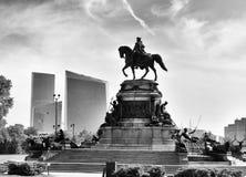 Philadelphia cityscape with the George Washington statue, PA, USA.  royalty free stock photo