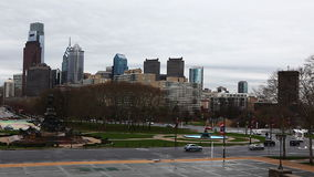 Philadelphia cityscape from the Museum of Art stock footage