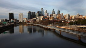 Philadelphia cityscape with river in the foreground stock video