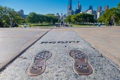 PHILADELPHIA, DE V.S. - 22 NOVEMBER, 2016: Rocky Steps-monument in Philadelphia Het monument herdenkt toegejuichte film stock afbeelding