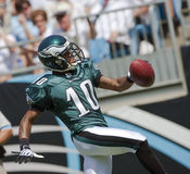Philadelphia Eagles Vs Carolina Panthers. 13 September, 2009:  Philadelphia Eagles Wide Receiver, DeSean Jackson, celebrates after scoring a touchdown during Royalty Free Stock Images