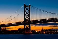 Philadelphia en la puesta del sol Fotografía de archivo libre de regalías