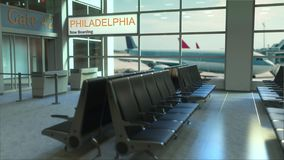 Philadelphia flight boarding now in the airport terminal. Travelling to the United States conceptual intro animation, 3D. Philadelphia flight boarding now in the stock footage