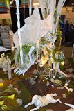 Philadelphia Flower Show 2017. The Philadelphia Flower Show March 11th 2017 Opening Day. The theme is Holland A Fairy perched on a wooden swing above a meadow Royalty Free Stock Image