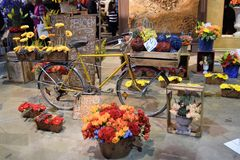 Philadelphia Flower Show 2017. The Philadelphia Flower Show March 11th 2017 Opening Day. The theme is Holland. A display set up to resemble a flower stand Royalty Free Stock Photos