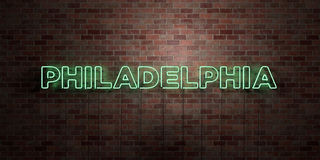PHILADELPHIA - fluorescent Neon tube Sign on brickwork - Front view - 3D rendered royalty free stock picture Royalty Free Stock Photography