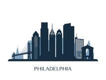 Philadelphia horisont, monokrom färg royaltyfri illustrationer