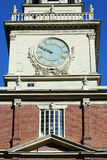 Philadelphia Independence Hall. Close up of the clock in the Independence hall building in historic district of Philadelphia, Pennsylvania Stock Photos