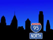 Philadelphia with interstate sign Royalty Free Stock Images