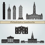 Philadelphia landmarks and monuments. On blue background in editable vector file Stock Image