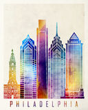 Philadelphia landmarks watercolor poster Royalty Free Stock Image