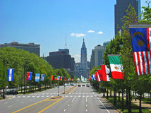 Benjamin Franklin Parkway with flags Royalty Free Stock Photography