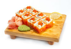 Philadelphia maki with caviare Stock Photos