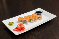 Philadelphia maki sushi rolls with salmon, cheese cream and cucumber Stock Photography