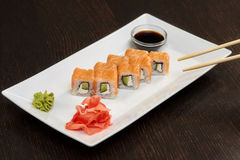 Philadelphia maki sushi rolls with salmon, cheese cream and cucumber Stock Images