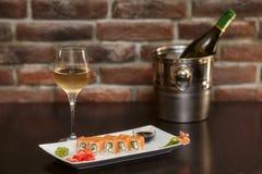 Philadelphia maki sushi rolls with salmon, cheese cream and cucumber Royalty Free Stock Image