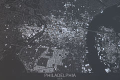 Philadelphia map, satellite view, Usa Royalty Free Stock Photography