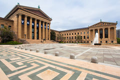 Philadelphia Museum of Art. The facade of the Museum of Art with its columns of Ionic order, a fountain and the announcement of a Van Gogh exposition Royalty Free Stock Photo