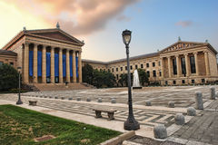 Philadelphia Museum of Art Front East Entrance. The Philadelphia Pennsylvania Museum of Art East entrance and North wing buildings and empty main plaza with Royalty Free Stock Images