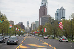 PHILADELPHIA, PA - APRIL 19: Benjamin Franklin Parkway from the Philadelphia Museum of Art with Center City skyscraper. PHILADELPHIA, PA - APRIL 19: View of Royalty Free Stock Photos