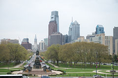 PHILADELPHIA, PA - APRIL 19: Benjamin Franklin Parkway from the Philadelphia Museum of Art with Center City skyscraper. PHILADELPHIA, PA - APRIL 19: View of Stock Photography