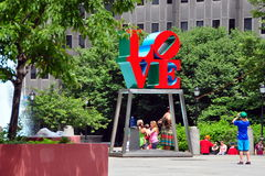 Philadelphia, PA: Boy Photographing LOVE Sculpture Royalty Free Stock Photo