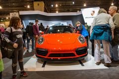 PHILADELPHIA, PA - 3 de febrero: Porsche en el salón del automóvil 2018 de Philadelphia Imágenes de archivo libres de regalías