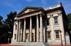 Philadelphia, PA: First Bank of the United States. Philadelphia, Pennsylvania:  The imposing Greek neo-classical style facade of the 1795 First Bank of the Royalty Free Stock Photos