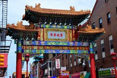 Philadelphia, PA: Friendship Gate in Chinatown. PHILADELPHIA, PENNSYLVANIA: The Chinese-American Friendship Gate on Arch and 9th Street in Chinatown Stock Image