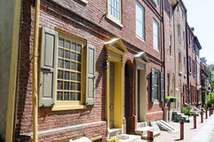 PHILADELPHIA, PA - 14. MAI: Die historische alte Stadt in Philadelphia, Pennsylvania Elfreth-` s Gasse, gekennzeichnet als Lizenzfreie Stockfotos