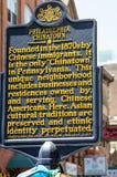 PHILADELPHIA, PA - 14 MEI: Teken die op de Chinatownsectie van Philadelphia van de binnenstad op 14 Mei, 2015 wijzen Stock Foto