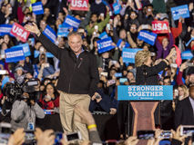 PHILADELPHIA, PA - OCTOBER 22, 2016: Hillary Clinton and Tim Kaine campaign for President and Vice-President of the United States. At University of Pennsylvania royalty free stock photos