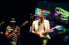 PHILADELPHIA PA - SEPTEMBER 20: Den reko musikbandet går utför i Philadelphia på September 20, 2014 Arkivbild