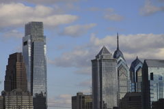 Philadelphia PA skyline. Taken from Ben Franklin Parkway Royalty Free Stock Image