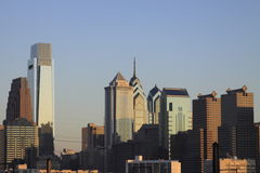 Philadelphia PA skyline. Philadelphia skyline at sunset taken from west to east Royalty Free Stock Image
