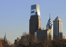 Philadelphia PA skyline with city hall Stock Photography