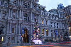 Christmas tree at Philadelphia City Hall Stock Photo