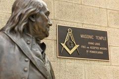 Philadelphia, PA, USA - May 29, 2018: Statue of Benjamin Franklin in front of Masonic Temple in Philadelphia. royalty free stock image