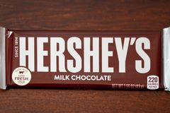 Hershey`s brand milk chocolate candy. Philadelphia, Pennsylvania - April 21, 2017:One Hershey`s brand milk chocolate candy bar. Hershey`s is one of the largest Royalty Free Stock Photography