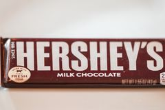 Hershey`s brand milk chocolate candy. Philadelphia, Pennsylvania - April 21, 2017:One Hershey`s brand milk chocolate candy bar. Hershey`s is one of the largest Royalty Free Stock Images